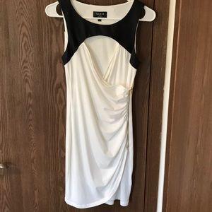 White/Black Side ZIP Wrap Dress, Size Small